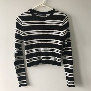 Zara Cropped Ribbed Striped Sweater Top Black